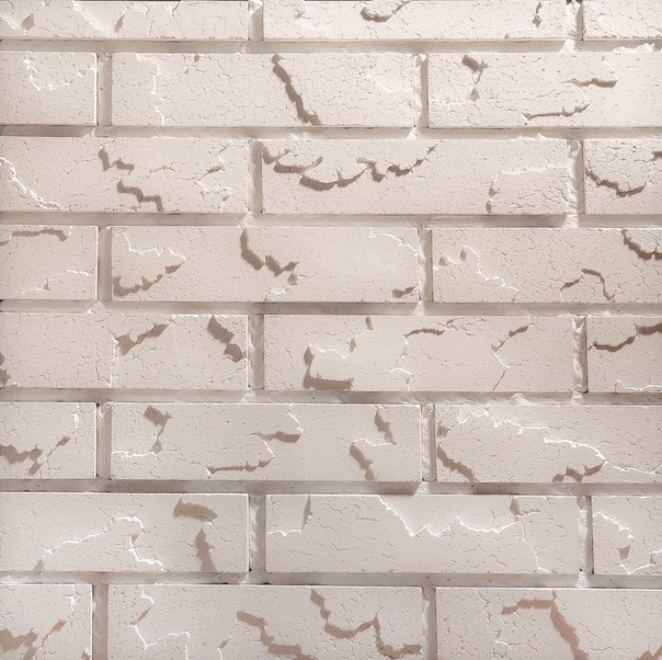 Cracked brick белый